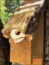Thatched birdhouse.